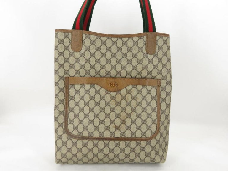 1ee82dfbb166e8 Gucci Monogram Gg Supreme Large Web Shopper 868051 Brown Coated Canvas Tote  For Sale 2