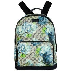Gucci Monogram GG Supreme Medium Blue Blooms Backpack Bag