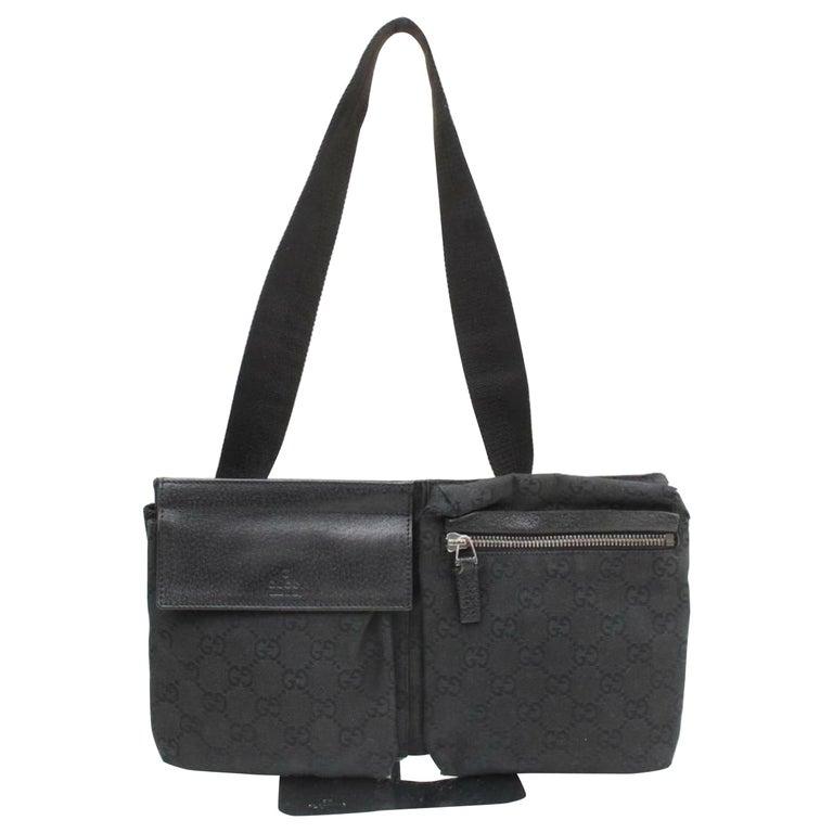 32090f549 Gucci Monogram Gg Waist Belt Pouch Fanny Pack 870034 Black Canvas Cross  Body Bag For Sale