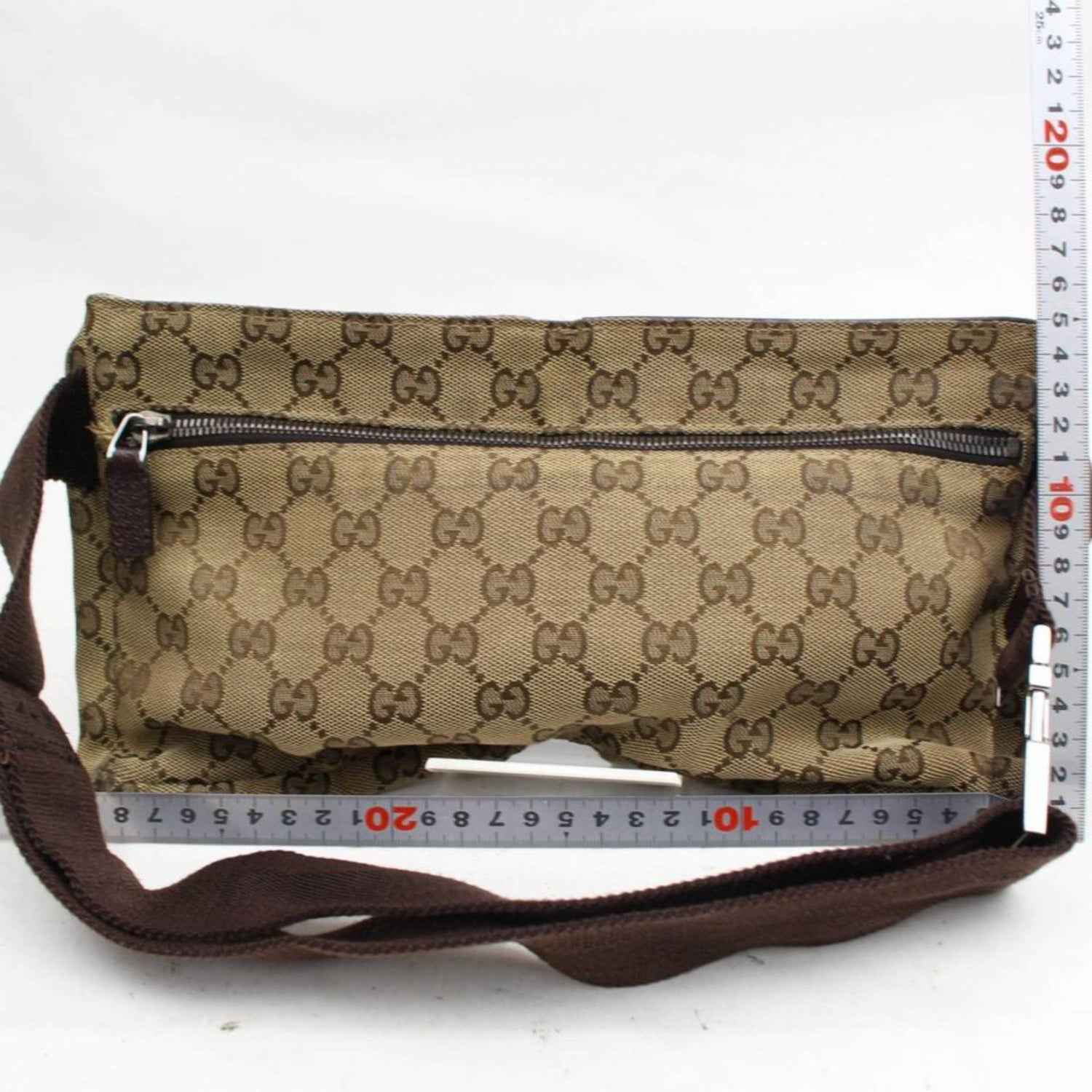 3d5d07047245 Gucci Monogram Gg Waist Pouch Fanny Pack 868298 Brown Canvas Cross Body Bag  For Sale at 1stdibs