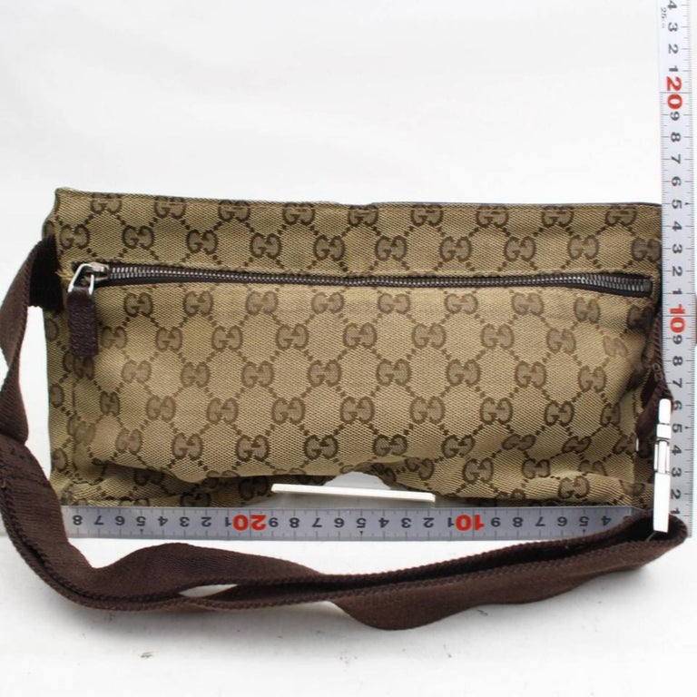 24ce80b1483 Gucci Monogram Gg Waist Pouch Fanny Pack 868298 Brown Canvas Cross Body Bag  For Sale 2