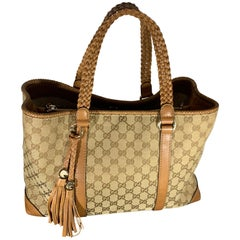 GUCCI Monogram Large Original Tote Tan With  Brown Leather/Canvas &  GG Tassels