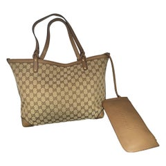 GUCCI Monogram Large Original Tote Tan With  Pouch, Like Neverfull
