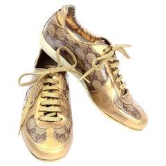 Gucci Monogram Logo Gold Sneakers Canvas & Leather Trainers w Box & Dust Bag