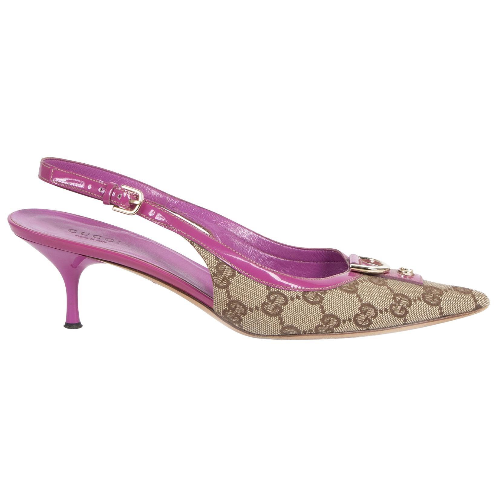 Gucci Monogram Pink Kitten Heels - Size 38