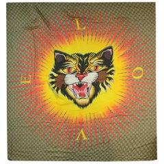 Gucci Monogram Silk & Modal Angry Cat 140cm Scarf Shawl