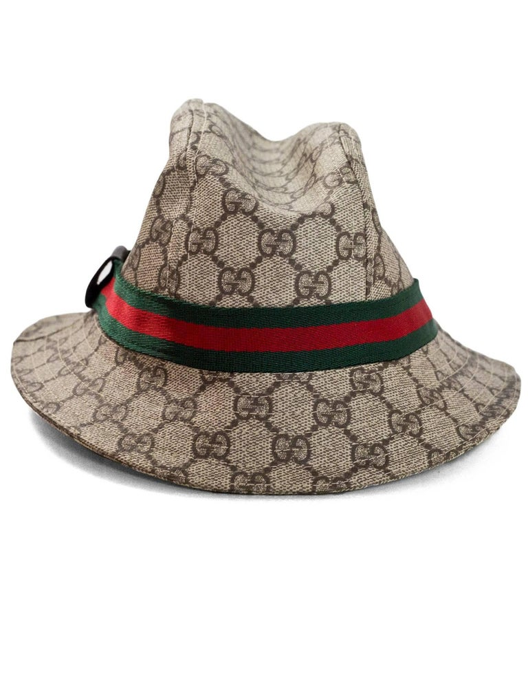 d0ded40f1eb ... Medium 89909  lace up in def13 facbd Brown Gucci Monogram Supreme Bucket  Hat Sz S For Sale ...