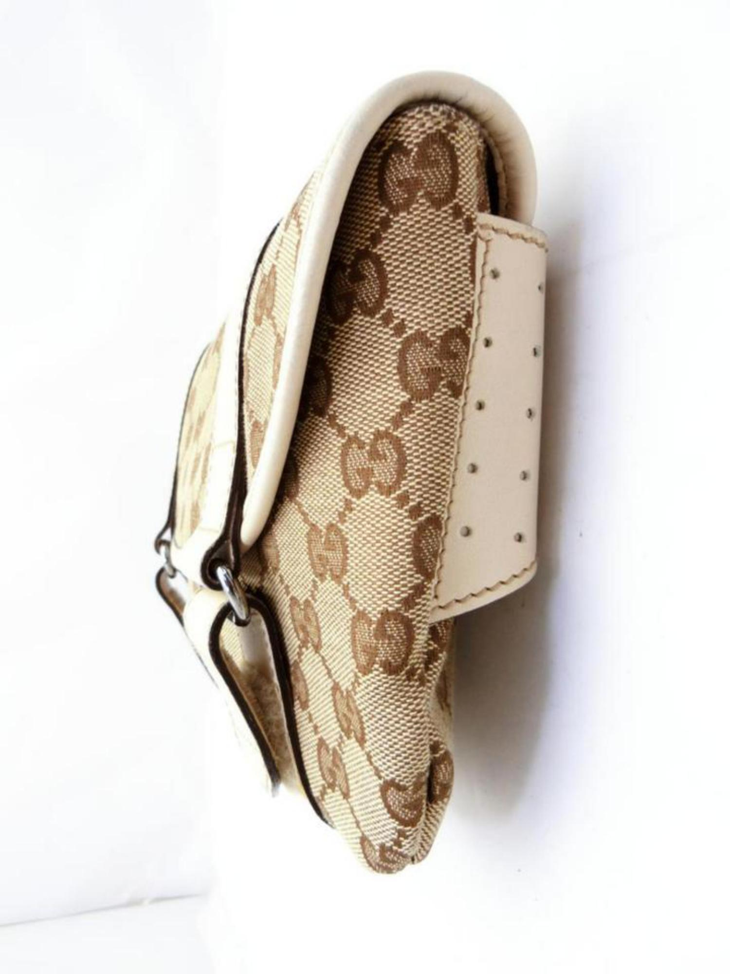 294531115bb4 Gucci Monogram Waist Pouch Fanny Pack 229998 Beige Coated Canvas Cross Body  Bag For Sale at 1stdibs