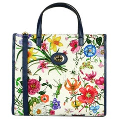 Gucci Multi-Color Canvas Leather Blue Trim Medium Flora Tote Bag