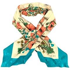 GUCCI Multi-Color Floral Silk Turquoise Border Ascot