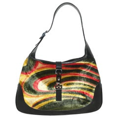Gucci Multi Color Pony Hair & Black Leather Top Handle Bag