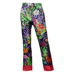 Gucci Multi-Color Purple Green Silk Printed Pants sz IT42
