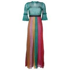 GUCCI Multi Stripe Lurex Knitted Crochet Dress Medium