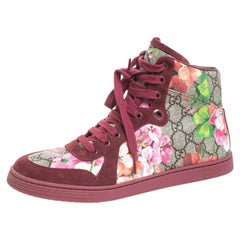 Gucci Multicolor Blooms Printed GG Coated Canvas High Top Sneakers Size 39