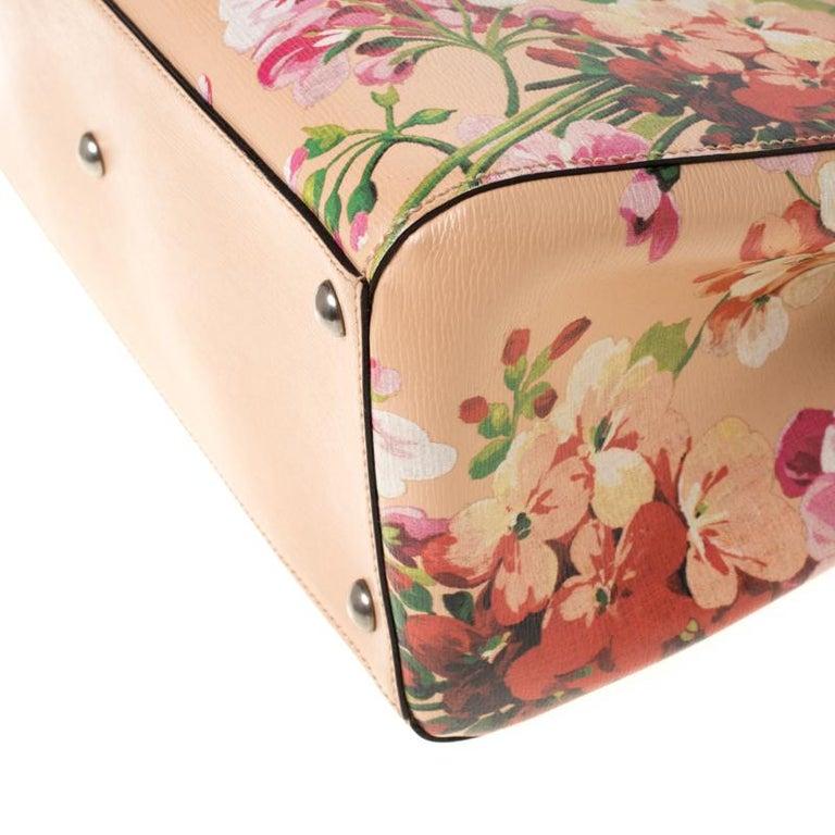 Gucci Multicolor Bloom's Printed Leather Bamboo Shopper Tote 5