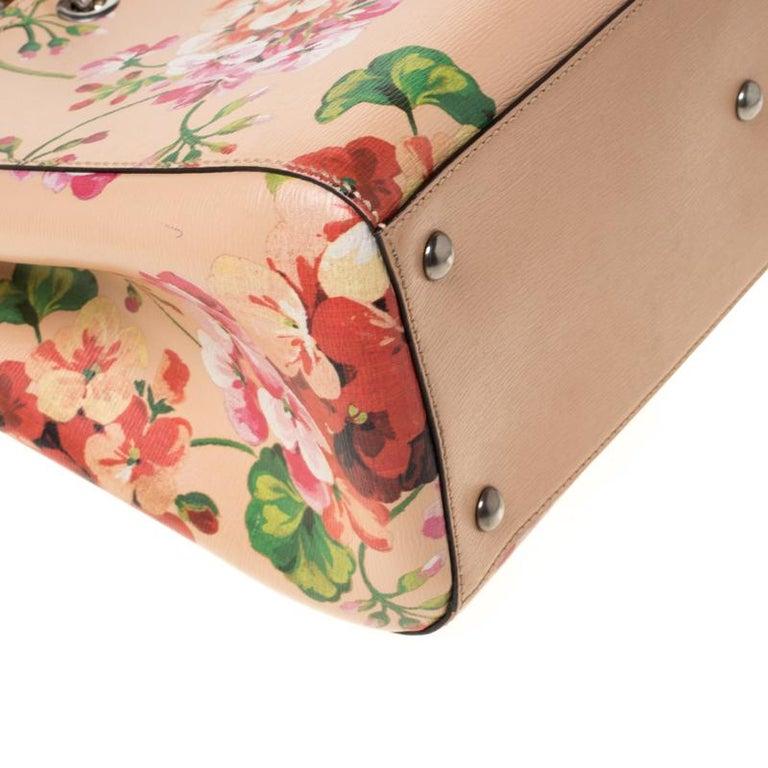 Gucci Multicolor Bloom's Printed Leather Bamboo Shopper Tote 6