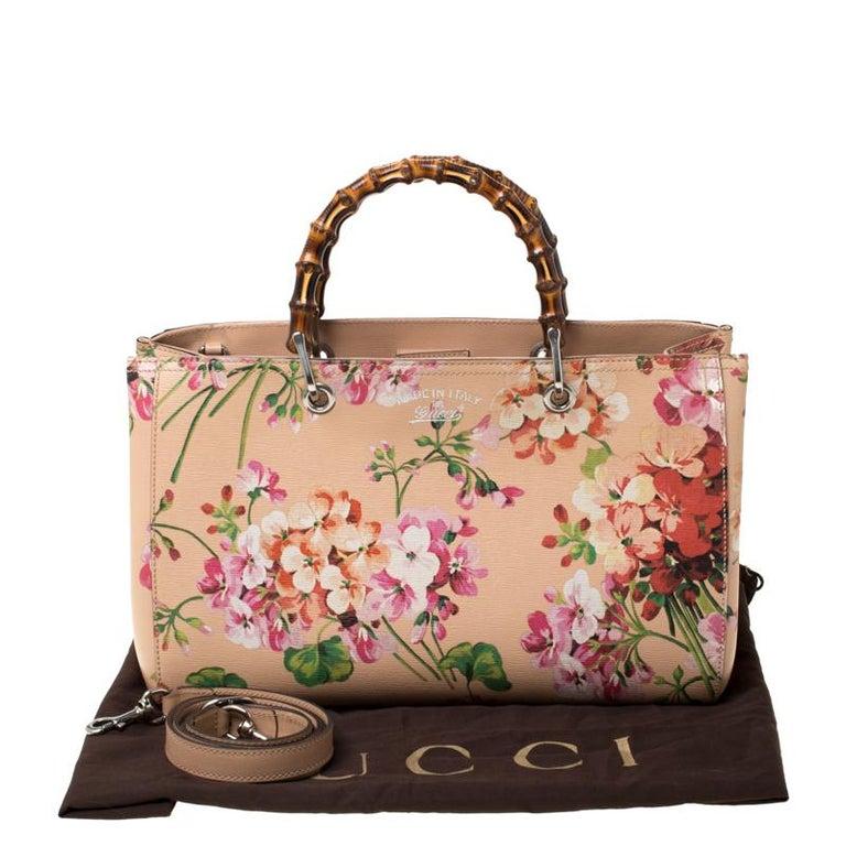 Gucci Multicolor Bloom's Printed Leather Bamboo Shopper Tote 7