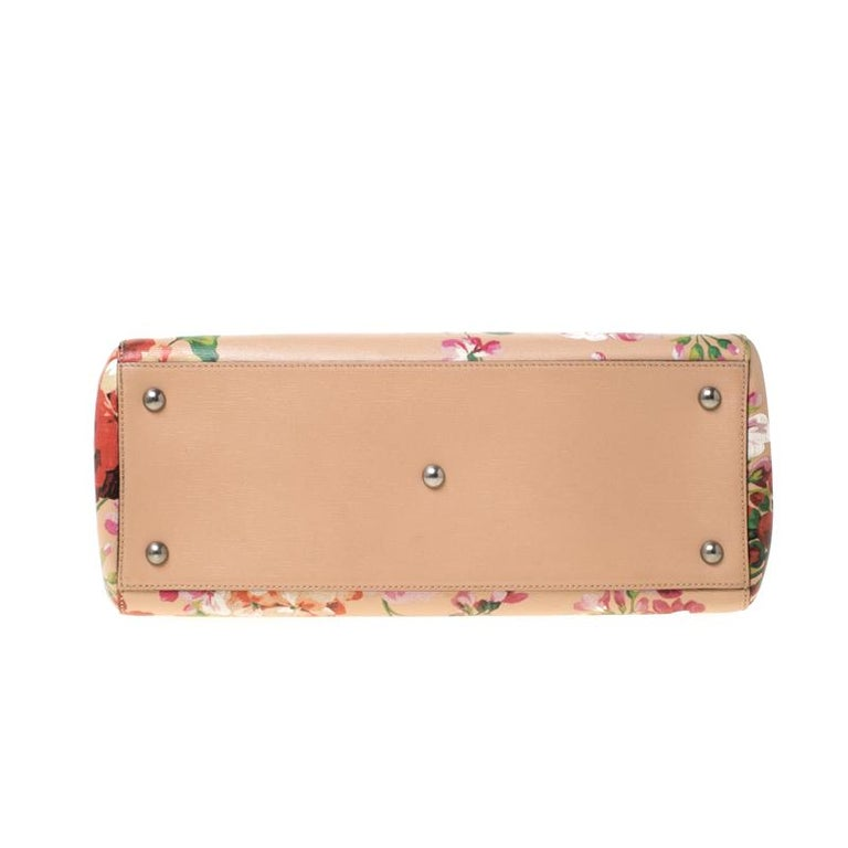 Women's Gucci Multicolor Bloom's Printed Leather Bamboo Shopper Tote