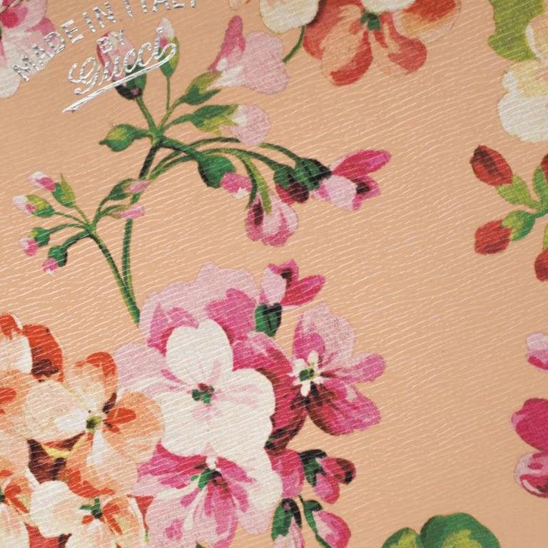 Gucci Multicolor Bloom's Printed Leather Bamboo Shopper Tote 4