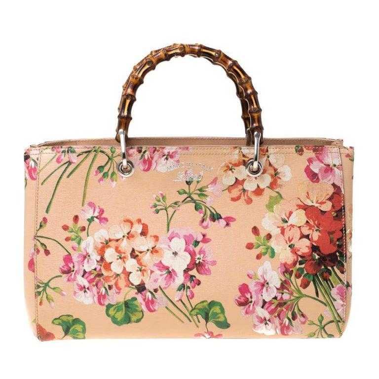 Gucci Multicolor Bloom's Printed Leather Bamboo Shopper Tote