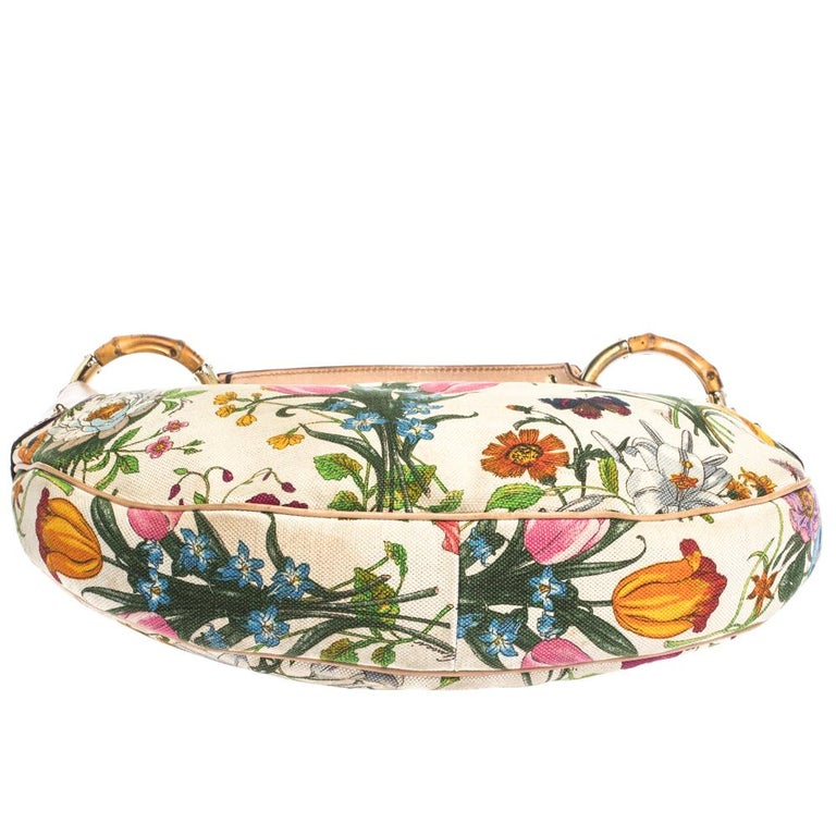 Women's Gucci Multicolor Botanical Floral Canvas and Leather Bamboo Ring Hobo For Sale