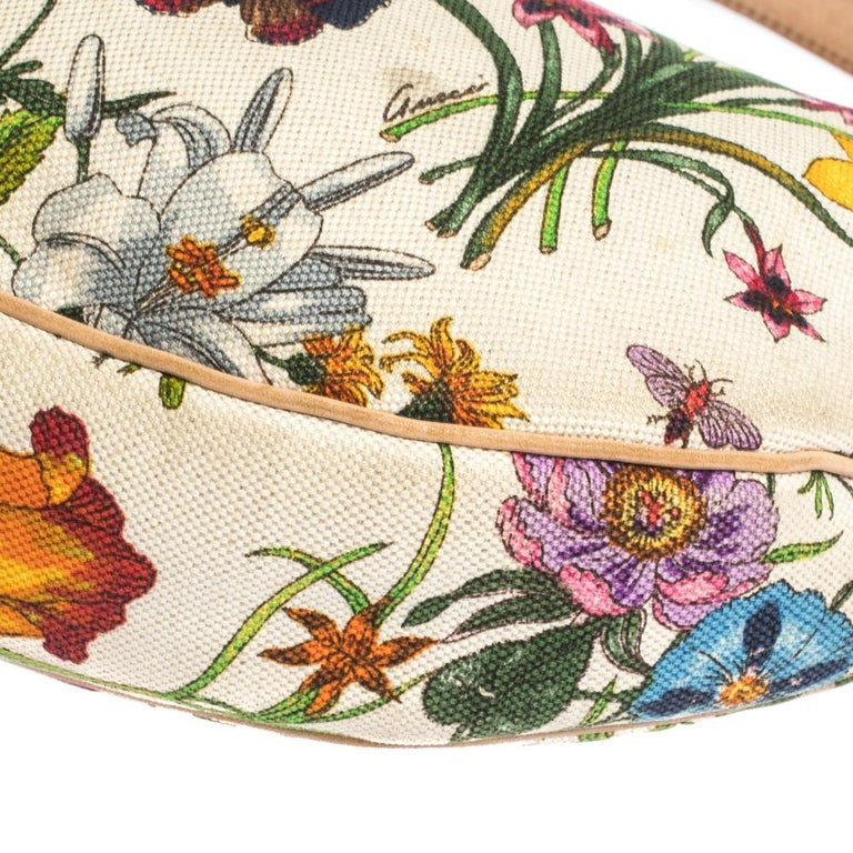 Gucci Multicolor Botanical Floral Canvas and Leather Bamboo Ring Hobo For Sale 4