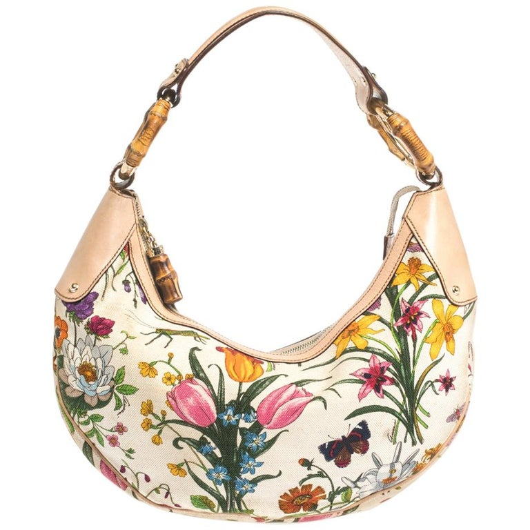 Gucci Multicolor Botanical Floral Canvas and Leather Bamboo Ring Hobo For Sale