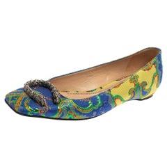 Gucci Multicolor Brocade Fabric Dionysus Ballet Flats Size 37.5