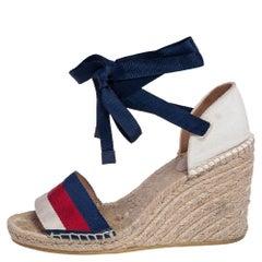 Gucci Multicolor Canvas Web Espadrille Wedge Ankle Wrap Sandals Size 37