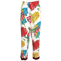 Gucci Multicolor Corsage Printed Silk Pajama Pants M