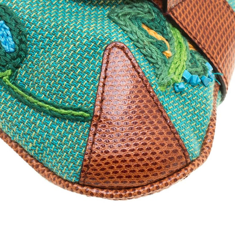 Gucci Multicolor Fabric Limited Edition Tom Ford Horsebit Chain Clutch For Sale 6