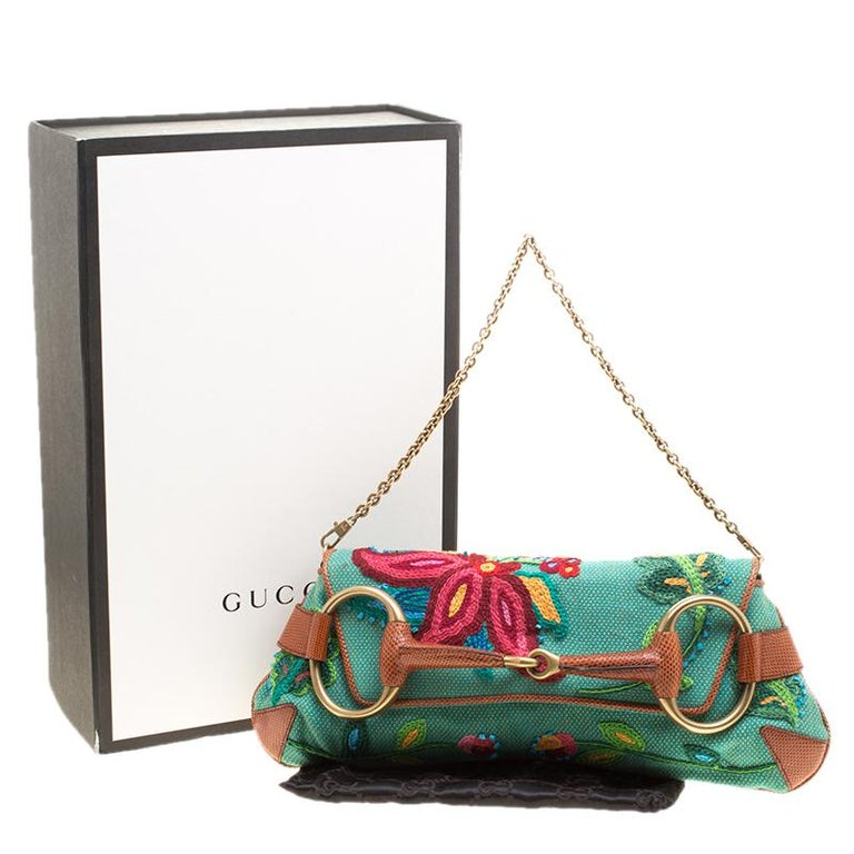 Gucci Multicolor Fabric Limited Edition Tom Ford Horsebit Chain Clutch For Sale 7