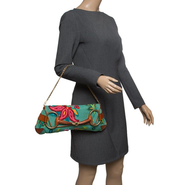 Gray Gucci Multicolor Fabric Limited Edition Tom Ford Horsebit Chain Clutch For Sale