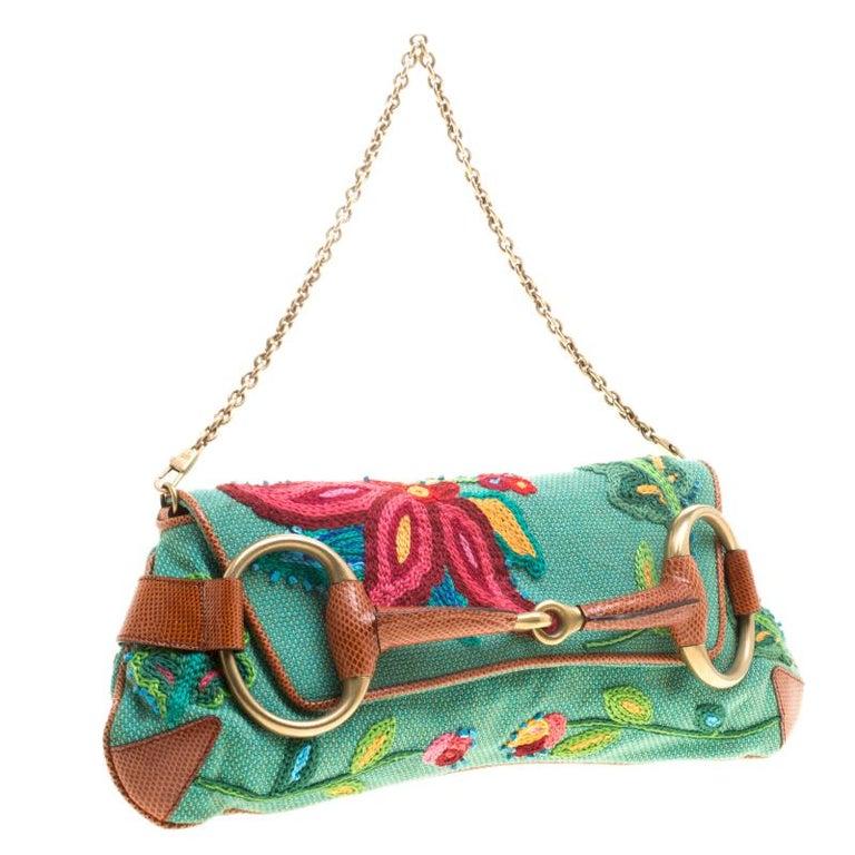 Gucci Multicolor Fabric Limited Edition Tom Ford Horsebit Chain Clutch In Excellent Condition For Sale In Dubai, Al Qouz 2