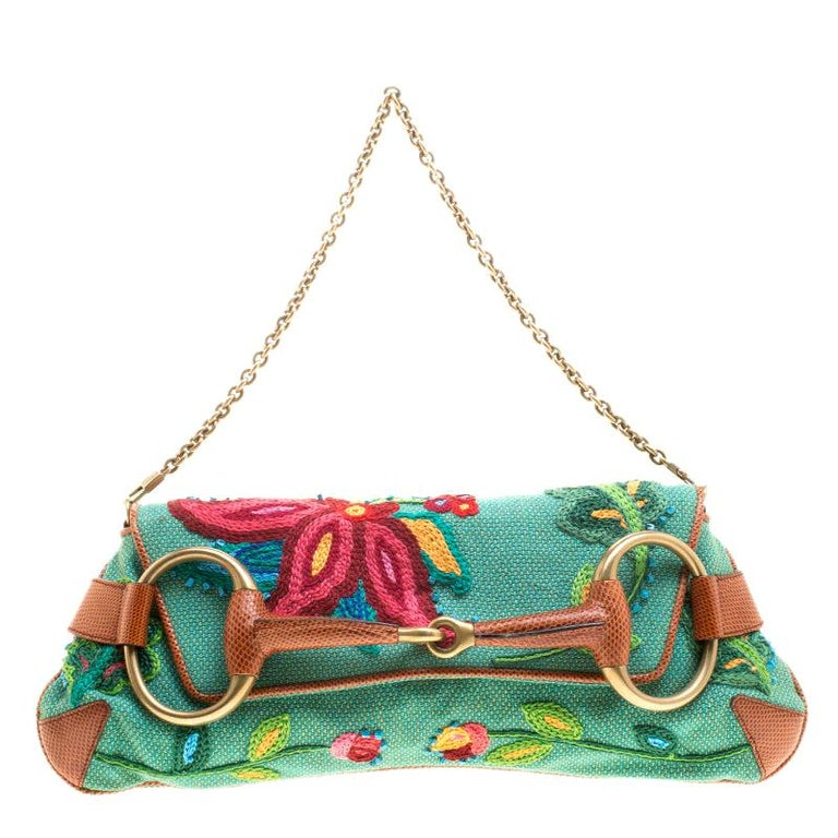 Gucci Multicolor Fabric Limited Edition Tom Ford Horsebit Chain Clutch For Sale