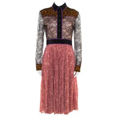 Gucci Multicolor Floral Bonded Lace Plisse Dress M