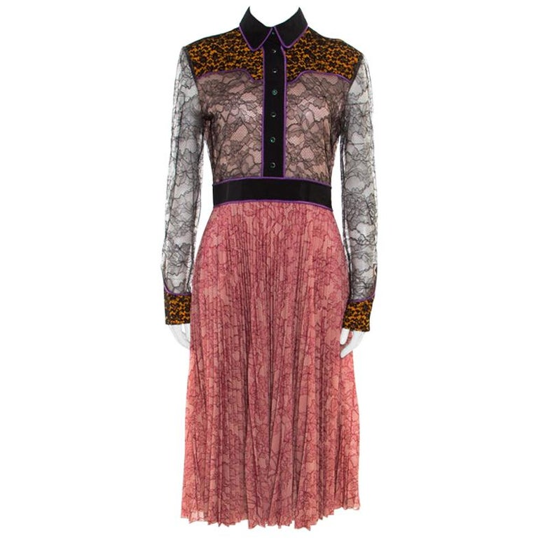 91a79a499 Gucci Multicolor Floral Bonded Lace Plisse Dress M For Sale at 1stdibs