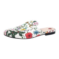Gucci Multicolor Floral Canvas Princetown Horsebit Flat Mules Size 40