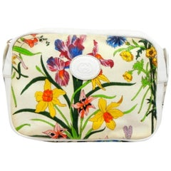 Gucci Multicolor Floral Disco Cross Body 232573 White Canvas Shoulder Bag