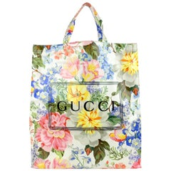 Gucci Multicolor Floral Print Coated Cotton Large Tote Bag Never Used