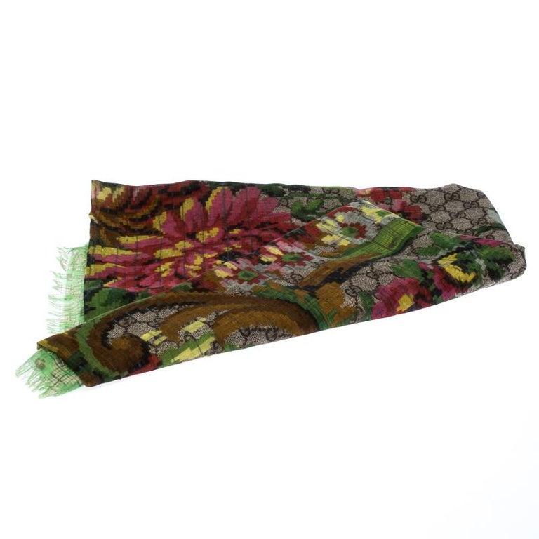 Gucci Multicolor Flower Vase Print Silk Modal Scarf For Sale 1