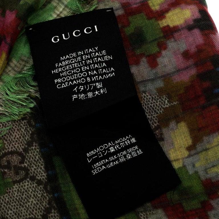 Gucci Multicolor Flower Vase Print Silk Modal Scarf For Sale 2