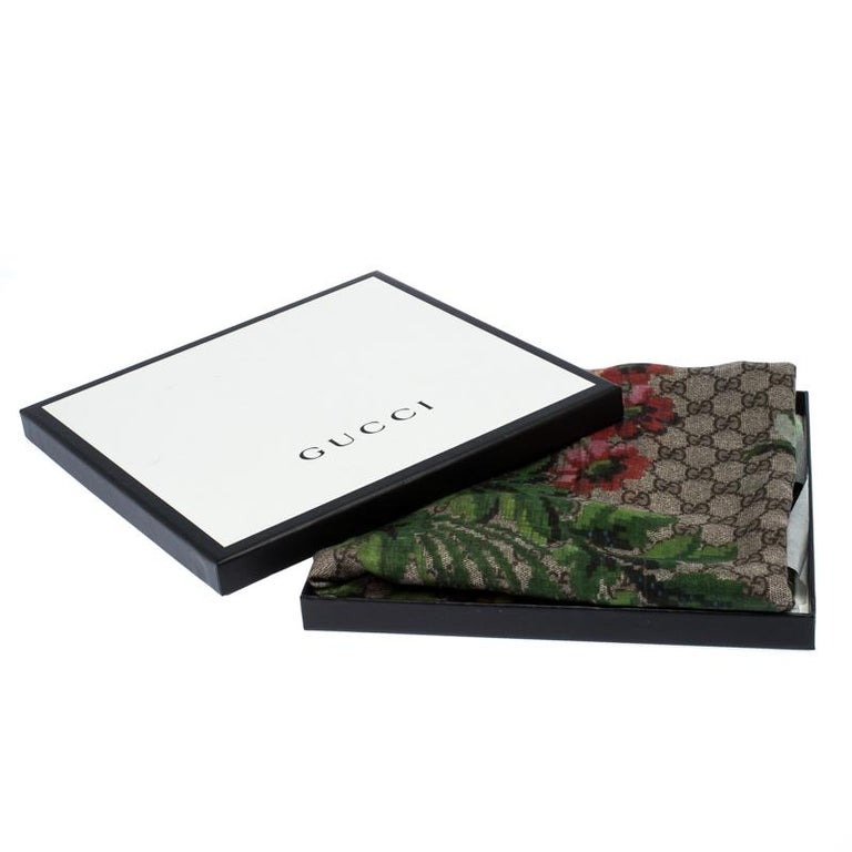 Gucci Multicolor Flower Vase Print Silk Modal Scarf For Sale 3