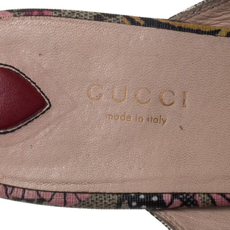 Gucci Multicolor GG Supreme Bengal Princetown Mule Sandals Size 40 For Sale 1