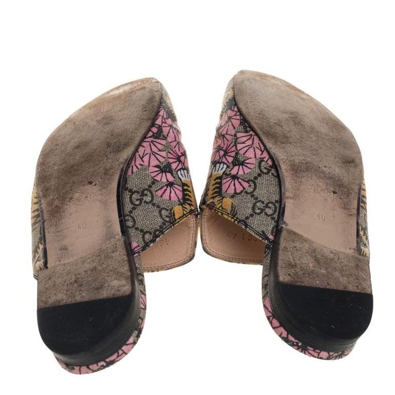Gucci Multicolor GG Supreme Bengal Princetown Mule Sandals Size 40 For Sale 2