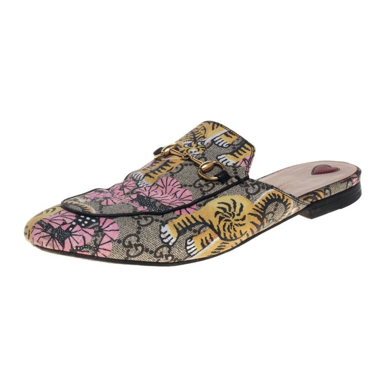 Gucci Multicolor GG Supreme Bengal Princetown Mule Sandals Size 40 For Sale