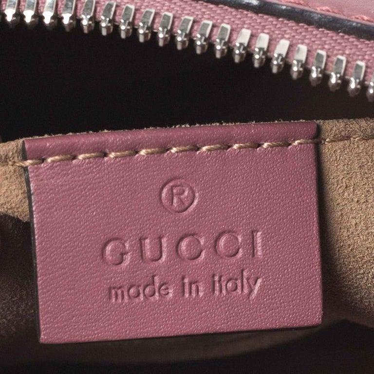 Gucci Multicolor GG Supreme Canvas Blooms Leather Small Satchel For Sale 6