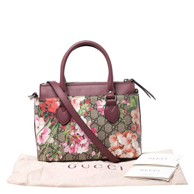 Gucci Multicolor GG Supreme Canvas Blooms Leather Small Satchel For Sale 7