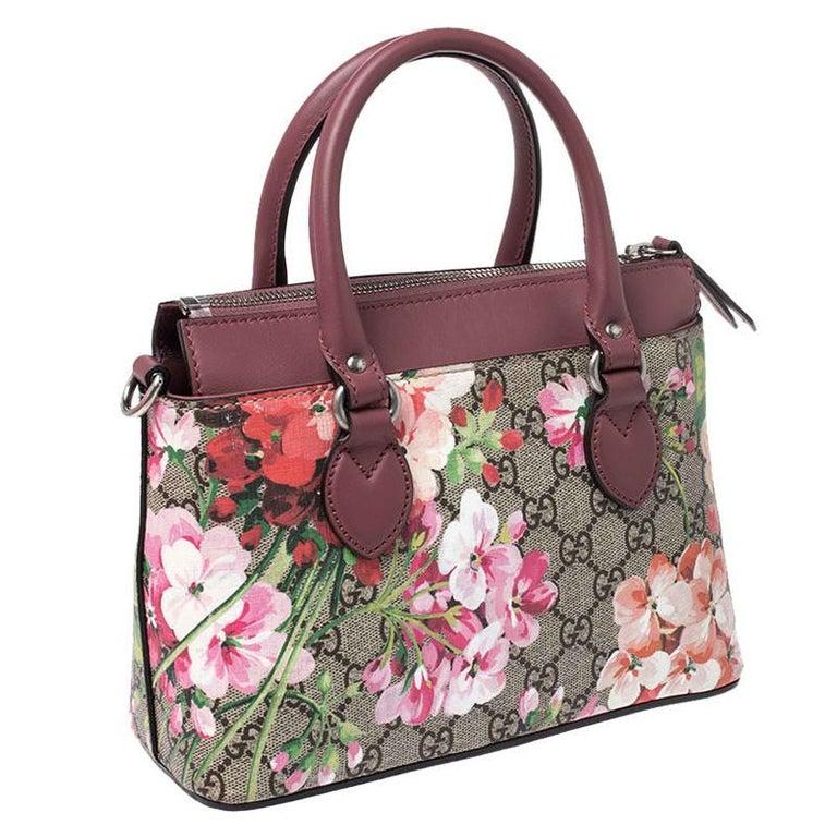 Women's Gucci Multicolor GG Supreme Canvas Blooms Leather Small Satchel For Sale