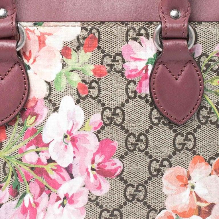Gucci Multicolor GG Supreme Canvas Blooms Leather Small Satchel For Sale 1
